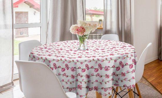 Abakuhaus Tischdecke »Kreis Tischdecke Abdeckung für Esszimmer Küche Dekoration«, Asian Blätter Blühende Blumen
