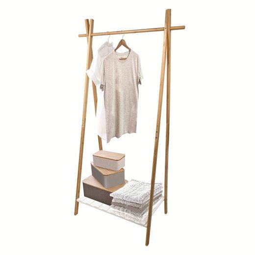 MSV Kleiderständer »MIA«, Garderobenständer mit Kleiderstange und Ablage, Bambus, 64x44x160,5 cm