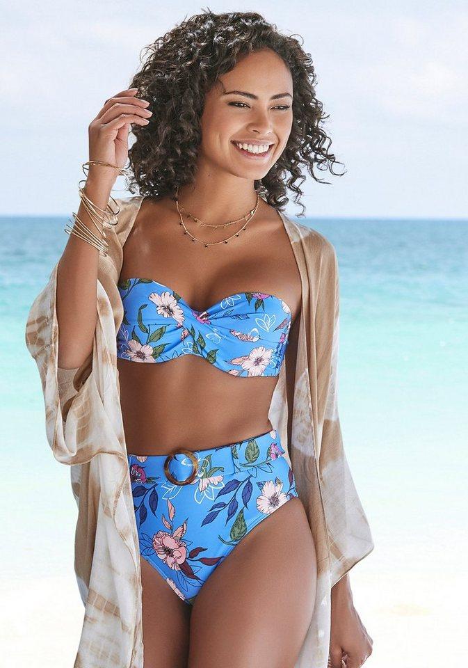 Bademode - s.Oliver Highwaist Bikini Hose »Maya«, mit abnehmbarem Gürtel und Schnalle in Horn Optik › blau  - Onlineshop OTTO