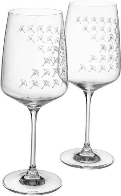 Joop! Weißweinglas »JOOP! FADED CORNFLOWER«, Kristallglas, mit Kornblumen-Verlauf als Dekor, 2-teilig
