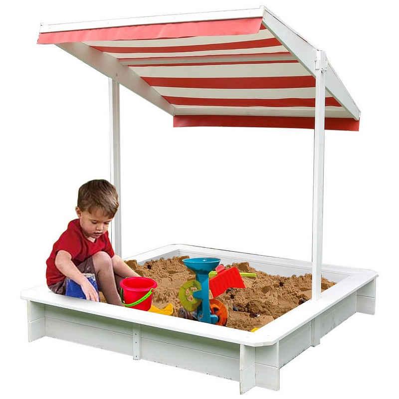 Mucola Sandkasten »Sandkasten mit Sonndendach Sandkiste Sandbox Holz Spielhaus Holzsandkasten Weiß«, Sonnendach