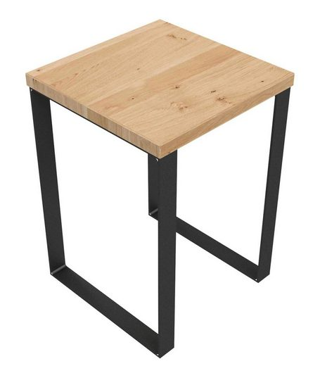KUNSTLOFT Hocker »Spatzl«, handgefertigter Sitzhocker aus Wildeiche und Metall