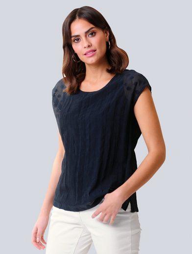 Alba Moda Blusenshirt in transparenter Ausbrenner-Qualität