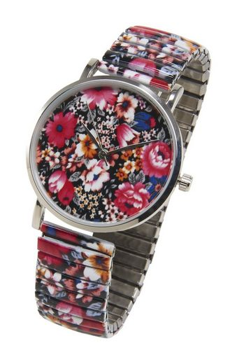 Heine Armbanduhr mit Blumen