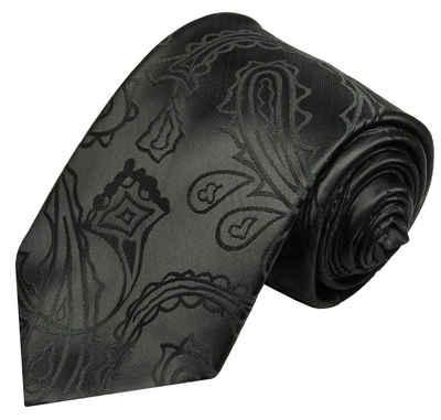 Paul Malone Krawatte »Herren Hochzeitskrawatte paisley klassisch elegant - Mikrofaser - Bräutigam Hochzeitsmode« Schmal (6cm), schwarz V2