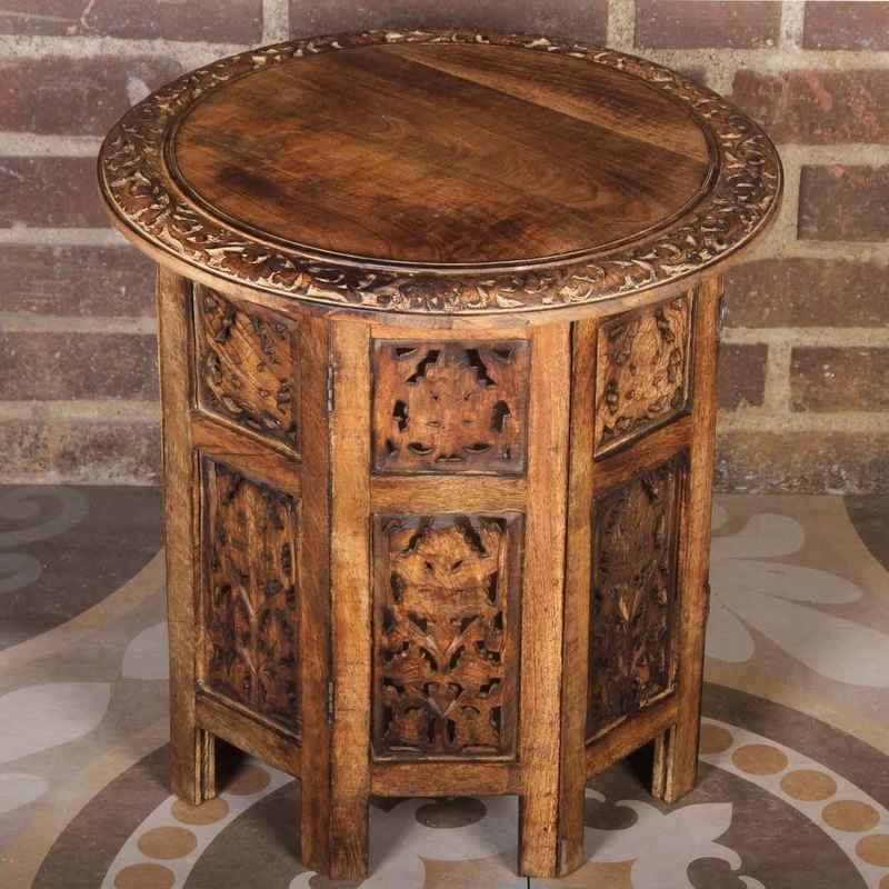 Casa Moro Beistelltisch »Orientalischer Beistelltisch Soumaya Ø 46cm rund H 46cm aus Mango Massivholz braun handgeschnitzt, Handmade Couchtisch Vintage Sofatisch, NH09201«, Kunsthandwerk