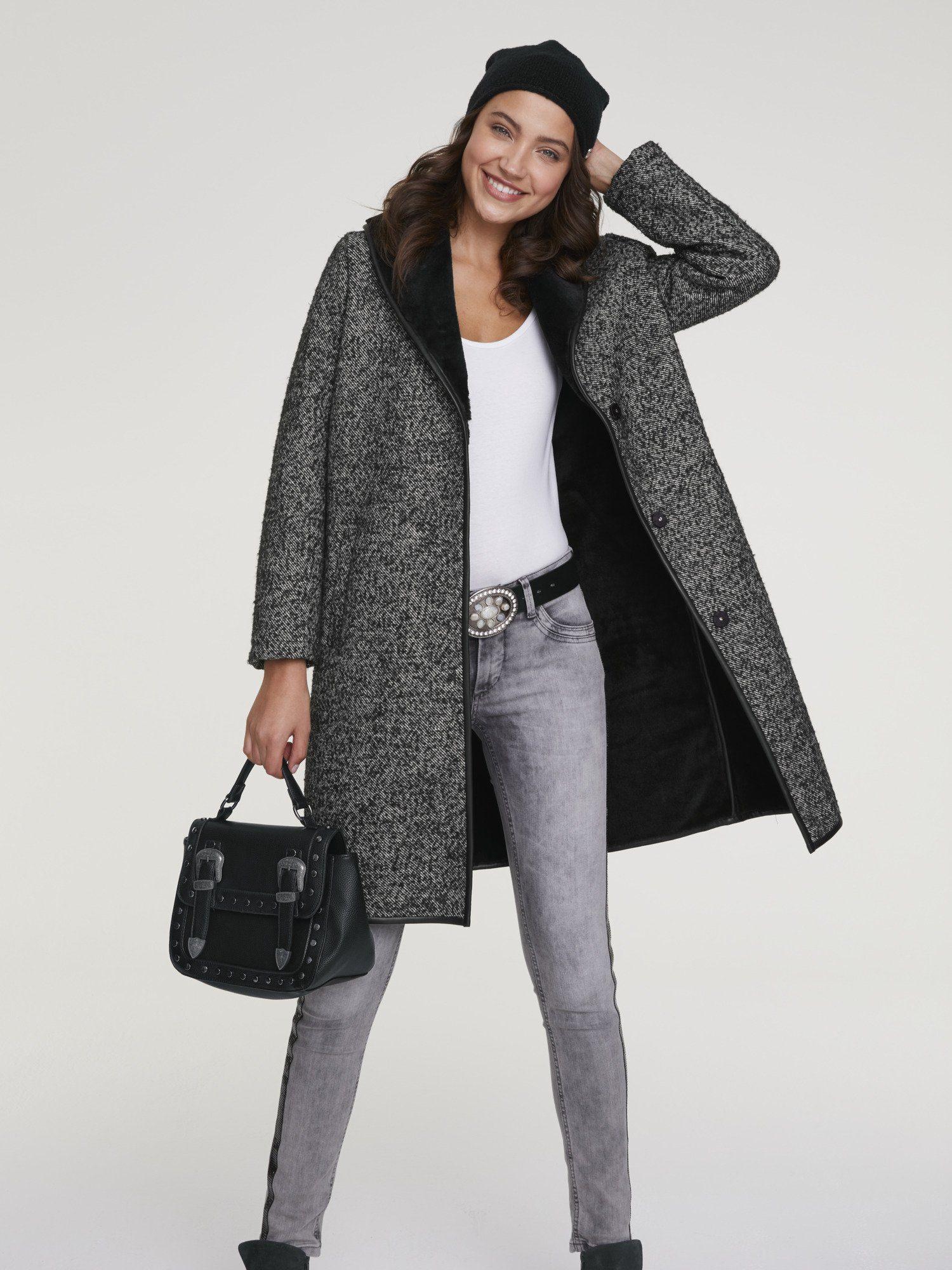 heine CASUAL Mantel mit Webpelz Kragen, Im angesagten Look online kaufen | OTTO