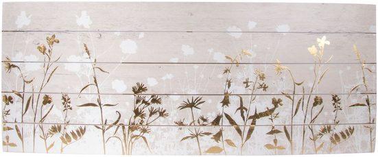 Holzbild »Metallic Wood Meadow«, Mit Goldverzierungen