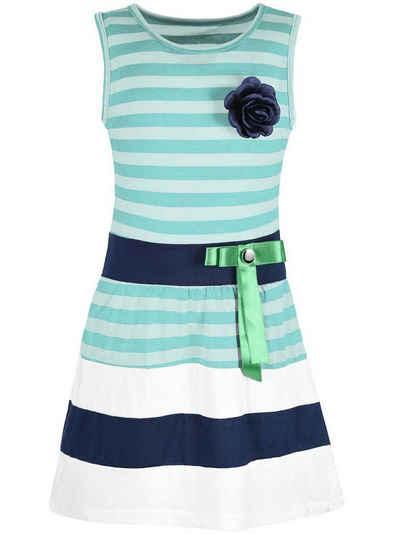 KMISSO Jerseykleid »Mädchen Sommer Kleid gestreift mit Schleife 30049« (1-tlg) Schleife