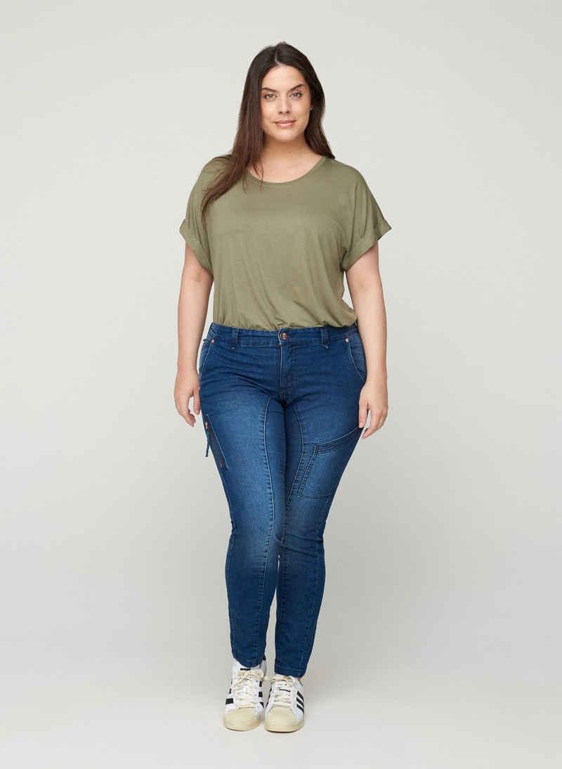 Zizzi Slim-fit-Jeans Große Größen Damen Extra Slim Fit Jeans mit normaler Taille