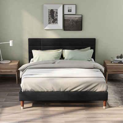 Merax Polsterbett »Flamenco«, 140 x 200 cm Doppelbett Ehebett mit Kopfteil, Lattenrost & Bettkasten, Bezug in Leinen
