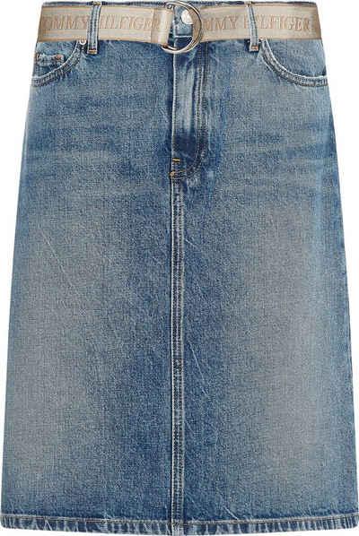 Tommy Hilfiger Jeansrock »A Line HW Lus Skirt« mit Gürtel