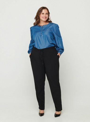 Zizzi Stoffhose Große Größen Damen Lockere einfarbige Hose mit Gummibund