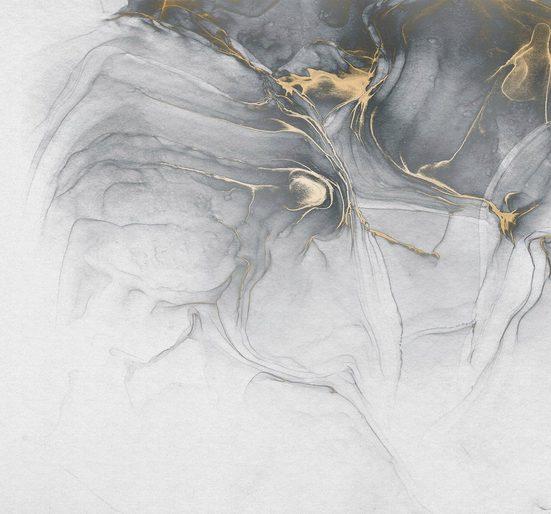 Komar Fototapete »Ink Gold Fluid«, glatt, floral, schimmernd, Silber-Optik, (Packung)