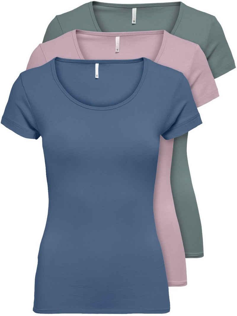 Only T-Shirt »ONLLIVE LOVE NEW« (3-tlg., 3er Pack) Figur betont, elastische Baumwollqualität