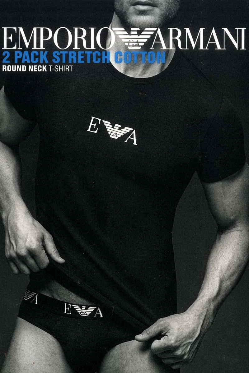 Emporio Armani Unterziehshirt »CC715« (2 Stück), Rundhals T-Shirt Herren Unterhemd Stretch Cotton im Doppelpack