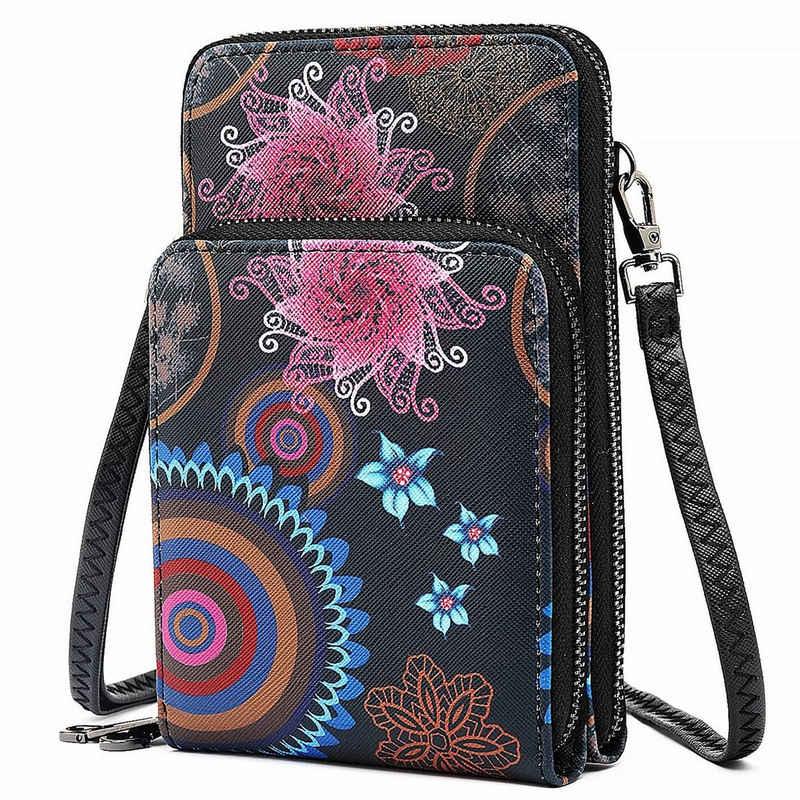 TAN.TOMI Handytasche »Handytasche zum Umhängen, Handy Tasche Geldbörse mit vielen Fächern, Umhängetasche klein«, bedruckt mit Blumenmuster im Mandala- und Ethno Stil, abnehmbarer Gurt, Metallreißverschluß