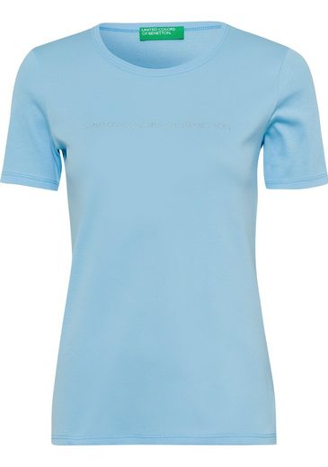 United Colors of Benetton T-Shirt mit glitzerndem Label-Print vorn