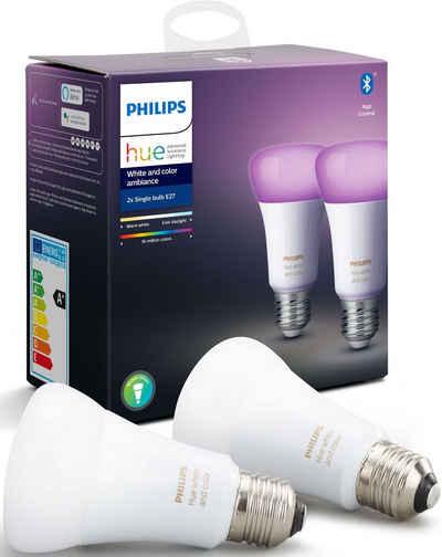 Philips Hue »White and Color Ambiance Doppelpack 2x806lm« LED-Leuchtmittel, E27, 2 Stück, Warmweiß, Tageslichtweiß, Neutralweiß, Extra-Warmweiß, Farbwechsler
