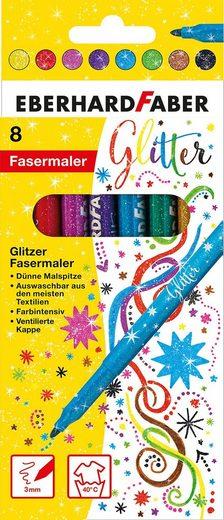 Eberhard Faber Dekorierstift »Glitzer Fasermaler, 8 Basisfarben«