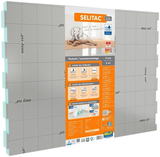 Selit Trittschalldämmplatte »SELITAC«, 5 mm, 5 m², für Parkett-/Laminatböden, faltbar, mit Tape
