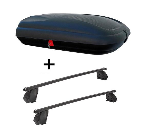 VDP Fahrradträger, Dachbox VDPBA320 320 Liter carbonlook abschließbar + Dachträger K1 MEDIUM kompatibel mit Peugeot Partner ab 08
