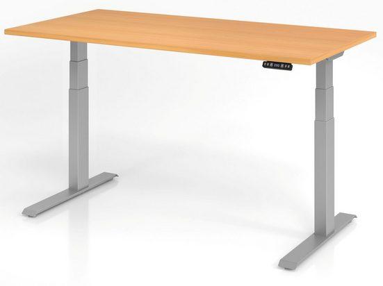 bümö Schreibtisch »OM-XDKB16«, elektrisch höhenverstellbar mit Memoryfunktion - Rechteck: 160x80 cm - Dekor: Buche