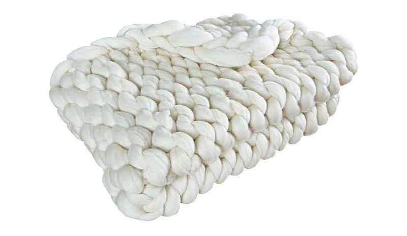 Baumwollbettdecke, »Handgefertigte Decke aus natürlicher Merinowolle in Ecru-Farbe, Hellgrau, Dunkelgrau, Minze, Gelb, Koralle«, Primo Line