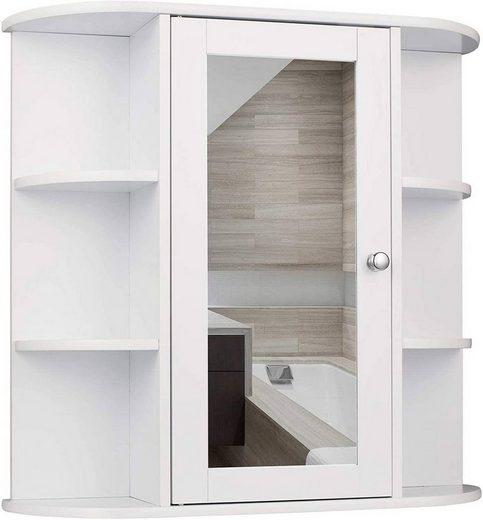 Woltu Spiegelschrank Spiegelschrank aus Holz mit Ablage oval in Weiß