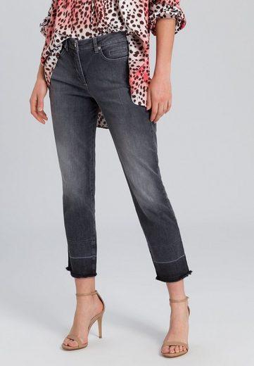 MARC AUREL 5-Pocket-Jeans mit Fransensaum
