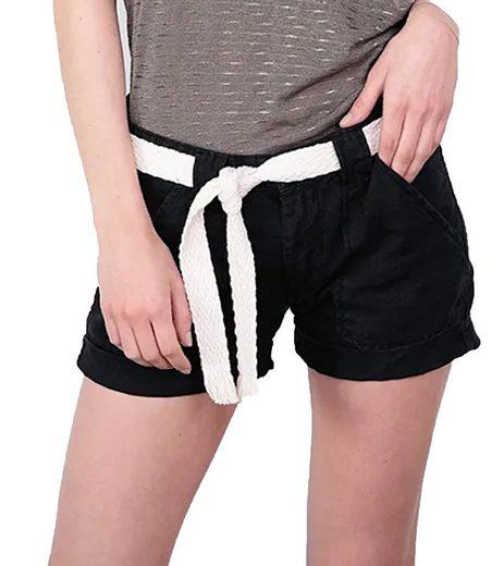 Le Temps Des Cerises Shorts »le temps des cerises Leinen Shorts Biss coole Damen Jeans-Shorts mit Gürtel kurze Hose Schwarz«