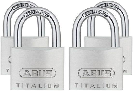 ABUS Vorhängeschloss »64TI/40 Quads B/SB«, (Set, 4-tlg), Spezialaluminium
