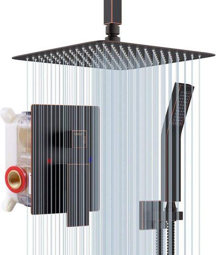 """Rainsworth Duschsystem »SRSS-C1001«, Unterputz Duscharmatur Set - Öl Eingerieben Bronze - Hochmoderne Air Injection-Technology - 10"""" Quadratischer Regenduschkopf - Decke Installieren Unterputz Duschsystem"""