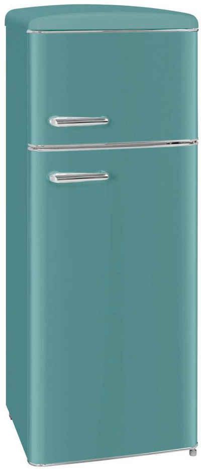 exquisit Kühl-/Gefrierkombination RKGC270-45-H-160E taubenblau, 143 cm hoch, 55 cm breit