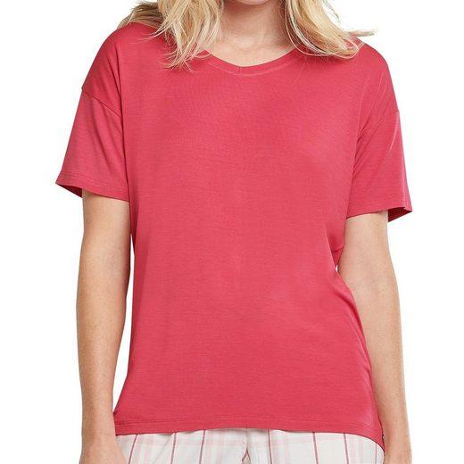 Schiesser Pyjamaoberteil »Mix & Relax Schlafanzug Shirt kurzarm« Lockerer Funktionsschnitt mit etwas längerer Rückenpartie, Leicht überschnittene Schultern, Leichte, softe und elastische Single-Jersey-Qualität