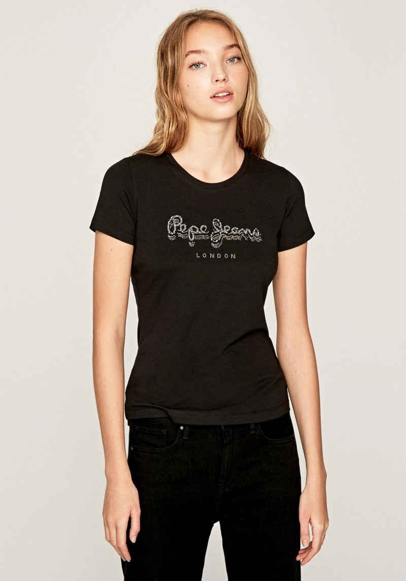 Pepe Jeans Print-Shirt »ASTRID« mit auffälligem Marken-Logo-Schriftzug aus Glitzersteinen im Brustbereich als echter Hingucker