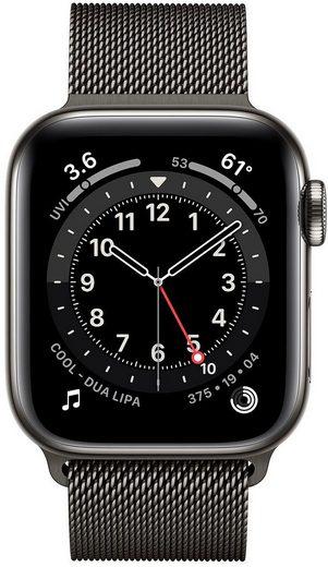 Apple Series 6 GPS + Cellular, Edelstahlgehäuse mit Milanaise Armband 40mm Watch (Watch OS, inkl. Ladestation (magnetisches Ladekabel)