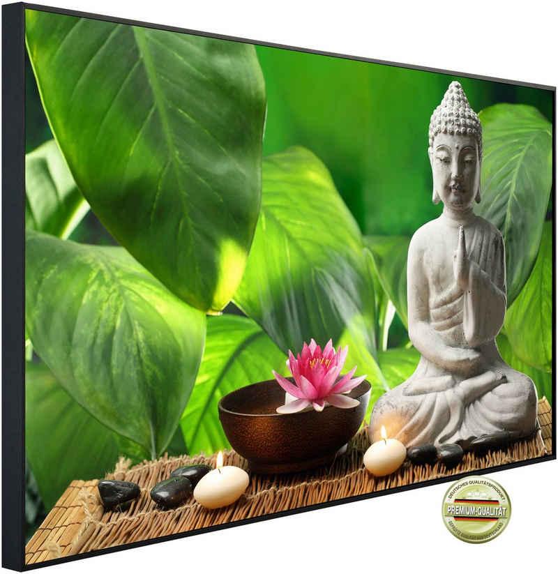 Papermoon Infrarotheizung »EcoHeat - Buddah in Meditation«, Aluminium, 1200 W, 60x120 cm, mit Rahmen, energiesparendes Heizen für angenehme, gesunde und gleichmäßige Wärme
