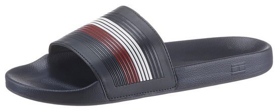 TOMMY HILFIGER »SEASONAL TH POOLSLIDE« Pantolette mit farbigen Streifen