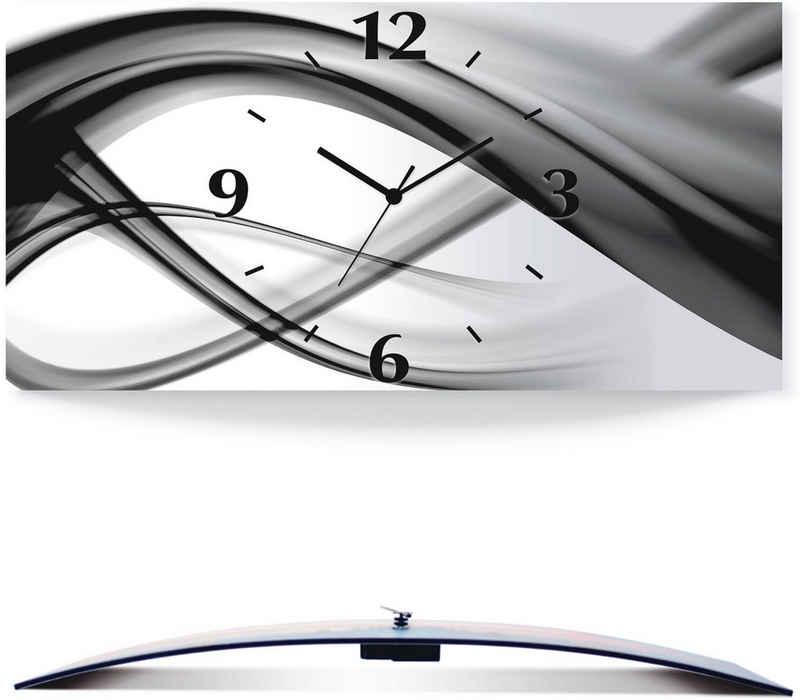 Artland Wanduhr »Abstrakte Kompositiom« (3D Optik gebogen, silber-metallic, lautlos, ohne Tickgeräusche, nicht tickend, geräuschlos - wählbar: Funkuhr o. Quarzuhr, moderne Uhr für Wohnzimmer, Küche etc. - Stil: modern)