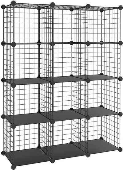 SONGMICS Regalwürfel »LPI34W LPI34H«, Steckregal Regalsystem, schwarz