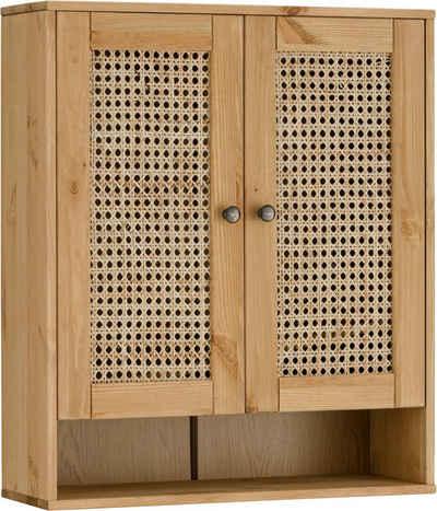 Home affaire Hängeschrank »Roan« aus Kiefer massiv mit Rattan-Einsatz, Breite 61 cm