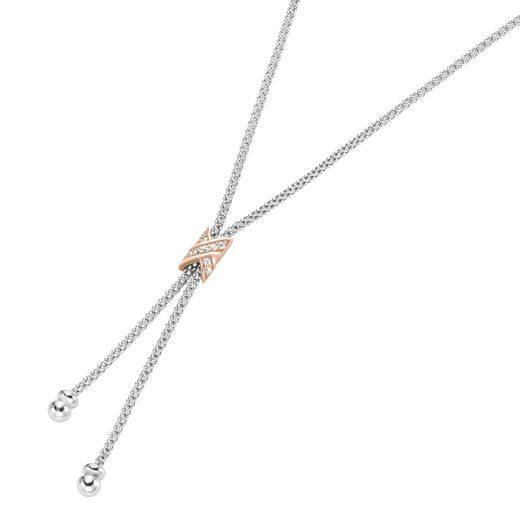 Smart Jewel Collier »Y-Form, Mesh-Optik, Zirkonia Steine, Silber 925«