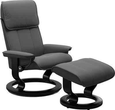 Stressless® Relaxsessel »Admiral« (Set, Relaxsessel mit Hocker), mit Hocker, mit Classic Base, Größe M & L, Gestell Schwarz