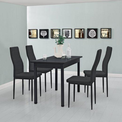 en.casa Essgruppe, (Set, 5-tlg., Esstisch mit 4 Stühlen), »Jørpeland« Küchentisch 120x60 cm Kunstleder Esszimmerstuhl schwarz