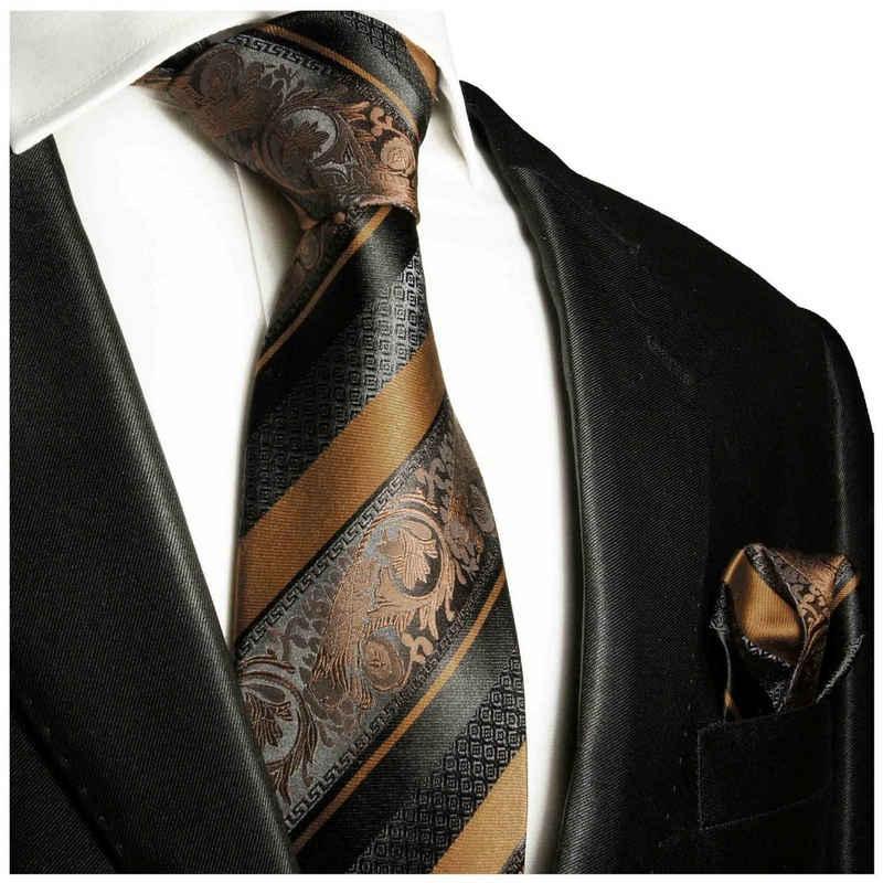 Paul Malone Krawatte »Herren Seidenkrawatte Schlips mit Tuch modern barock gestreift 100% Seide« (Set, 2-St., Krawatte mit Einstecktuch) Breit (8cm), braun schwarz 2033
