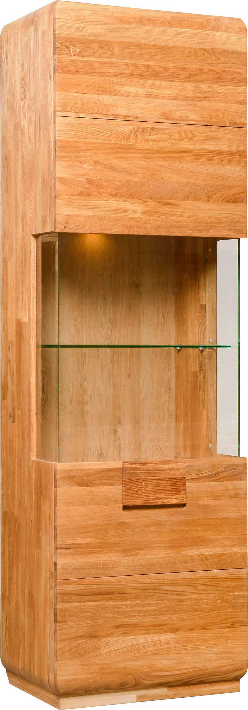 andas Vitrine »Freyr« aus massivem Eichenholz, inklusive einer Hintergrundbeleuchtung, Breite 60 cm