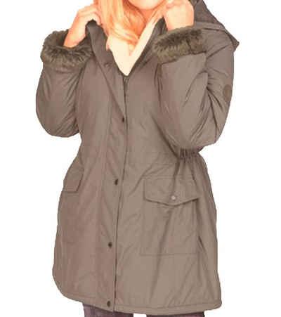 NoSecret Outdoorjacke »no secret Parka lässige Damen Jacke mit Fellimitat Winterjacke Große Größen Freizeit-Jacke Beige«