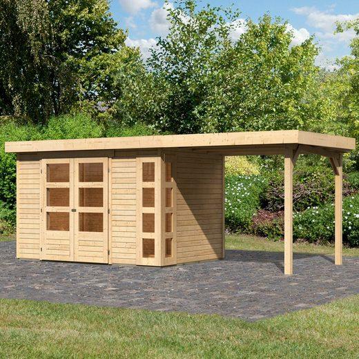 KONIFERA Set: Gartenhaus »Nordsee 4«, BxT: 211x554 cm, mit Anbaudach
