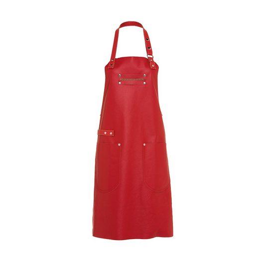 Feuermeisterin Kochschürze »Premium Leder Back- und Kochschürze Rot mit 2 Taschen«